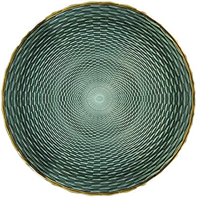 Green//Gold Cateringe Weddings American Atelier 1875006 Arbor Glass Charger Plate Decorative Service for Fine Dining For Upscale Events 13 Dinner Parties
