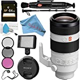 Sony FE 100-400mm f/4.5-5.6 GM OSS Lens SEL100400GM + 77mm 3 Piece Filter Kit + Professional 160 LED Video Light Studio Series + 64GB SDXC Card + Lens Pen Cleaner + 70in Monopod Bundle