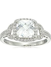Sterling Silver 2 Stone Lab Created White Sapphire Ring