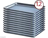 Premier Choice 12 Pack Baking Sheet Pans 18'' x 26'' Full Size Aluminum Bun Pan Set of 12 Wire in Rim