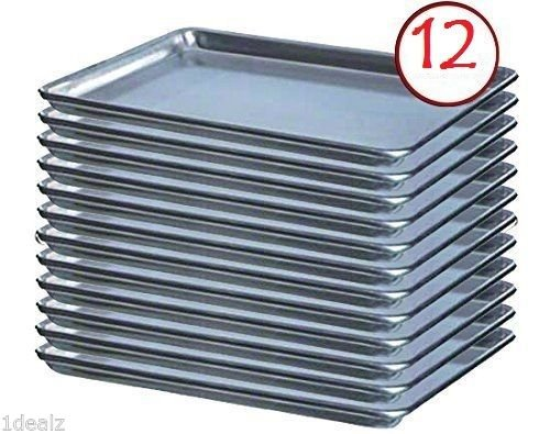 Premier Choice 12 Pack Baking Sheet Pans 18'' x 26'' Full Size Aluminum Bun Pan Set of 12 Wire in Rim by Premier