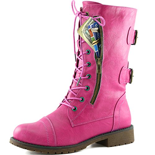 DailyShoes Women's Military Lace Up Buckle Combat Boots Mid Knee High Exclusive Credit Card Pocket, Pink Hearts, 13 B(M)
