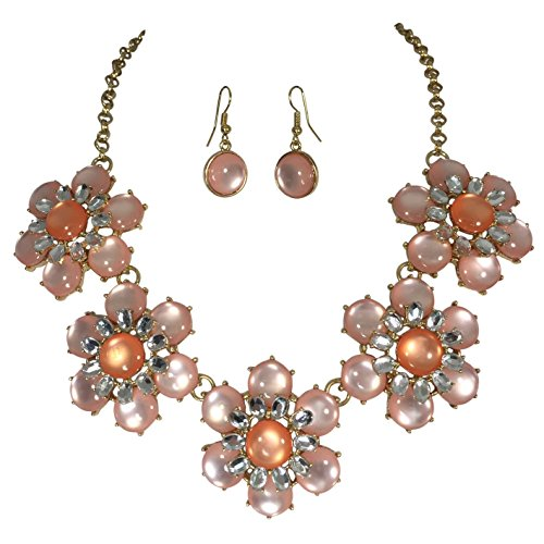5 Flower Statement Bib Bubble Gold Tone Necklace Earrings Set (PInk with (Chunky Peach)