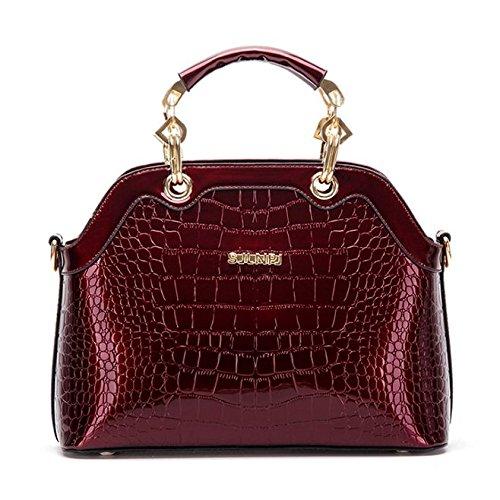 SANSJI señoras bolsos de moda del cuero de patente Shell Portable hombro Messenger Bag para mujeres (negro) Vino Tinto