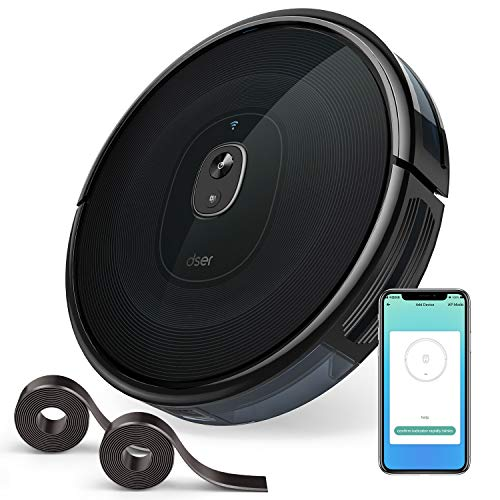 dser RoboGeek 21T, WiFi Robot Vacuum Cleaner with App and Remote Control, 1600Pa Suction, Quiet, 2 Boundary Strips, Self-Charging Robotic Vacuums for Floor and Pet Hair Cleaning, Works with Alexa