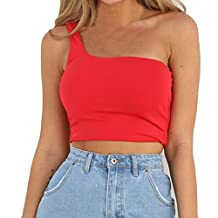 Napoo Womens Cold Shoulder Solid Color Sleeveless Crop Vest Camisole Cotton T-Shirt