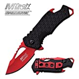MTech USA MT-A882RD Spring Assist Folding Knife, Red Blade, Black Handle, 3-Inch Closed