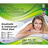 Mattress Protector Pad Cover - TWIN SIZE - Dry N Comfort - European Premium Quality Super Soft Hypoallergenic Waterproof White Fitted Sheet - Vinyl Free - 5 Years Warranty - Money Back Guarantee!