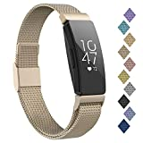 POY Compatible with Fitbit Inspire Hr Bands, Stainless Steel Replacement for Fitbit Inspire and Ace 2 Metal Loop Bracelet Sweatproof Wristbands for Women Men Champagne Small