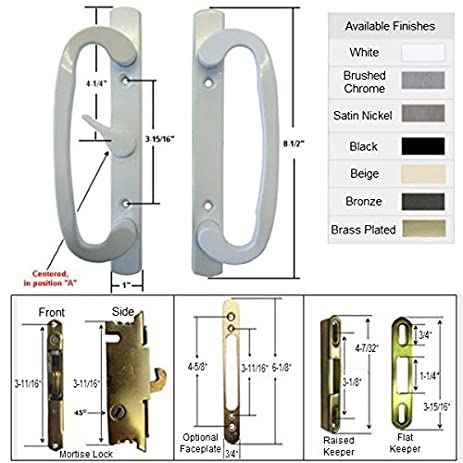 Sliding Glass Patio Door Handle Kit with Mortise Lock and Keepers, A ...