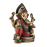 1.1 FT Tall Big Ganesha Idol - Brass sculpture with Colorful Turquoise Coral Gemstone work Antique Look Solid Brass (Weight 9 KG) Large Statue/ Artifact of Hindu Elephant Headed God Ganesha