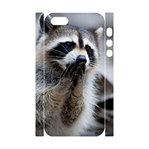 3D Bumper Plastic Customized Case Of Raccoon for iPhone 5,5S