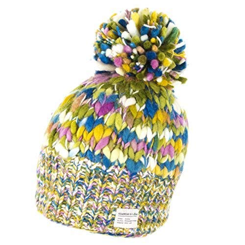 9db117bacbc952 Kusan Uneven Yarn Bobble Hat - Teal/Orange: Amazon.co.uk: Clothing
