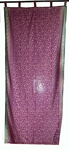 Indian Curtains Door Cover Fabric Georgette Window Cover Drape Panel Price Per Curtain Purple & Green