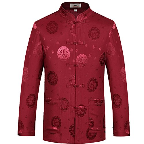ZooBoo Mens Chinese Traditional Cotton Linen Martial Art Kung Fu Tops Red S