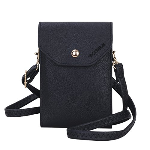 Bosam Cute Candy Colors Crossbody Cell Phone Purse Small Woman Bag Wallet for Smartphones Under 5.5inch(Black)