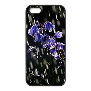 LJF phone case Purple delicate flowers in the rain Phone Case for iPhone 5S(TPU)