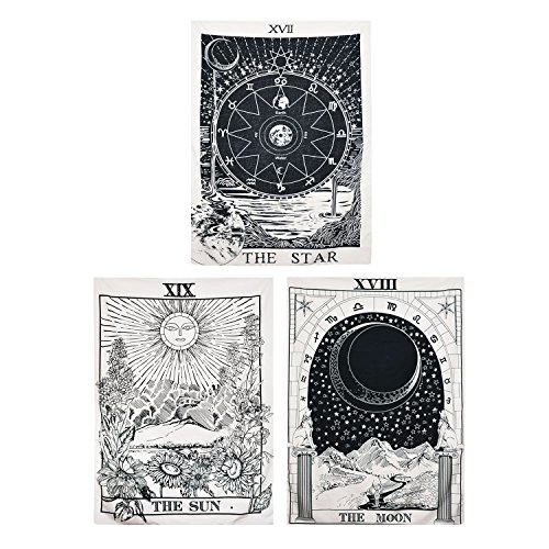 (BLEUM CADE Tarot Tapestry The Moon The Star The Sun Tapestry Medieval Europe Divination Tapestry Wall Hanging Tapestries Mysterious Wall Tapestry for Home Decor (Pack of 3, 51
