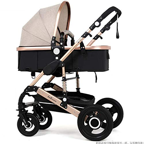 ZLMI Baby Carriage Ultra-Light Portable High Landscape Four-Wheeled Two-Way Cart Folding Storage Suitable for 0-3 Years Old,A