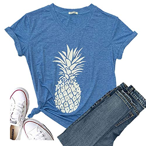 Hellopopgo Pineapple Printed Funny T Shirt Women's Summer Tops Fruits Lover Short Sleeve Graphic Tees Tops Girl (Large, Sky - Lover Graphic