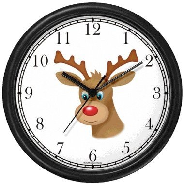 Christmas Theme Wall Clock - Red Nose Reindeer or Deer (Rudolf or Rudolph) - Christmas Theme - JP Wall Clock by WatchBuddy Timepieces (White Frame)