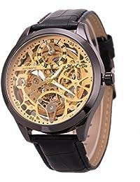 Skeleton Mechanical Mens Watch 47MM XL Automatic Crystal Black Leather Wrist Watch