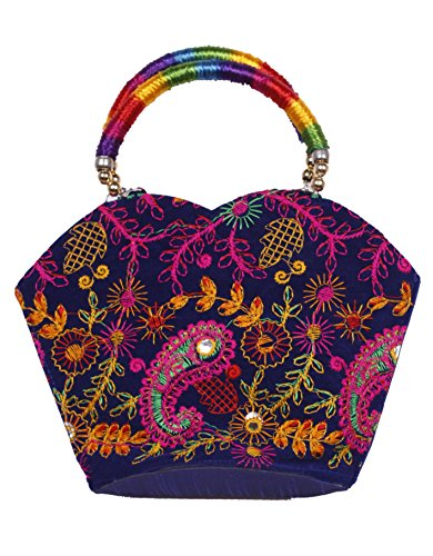 Indian Flower Pot Desiged Bag with Attractive Handicraft Thread Work for Female (Blue)