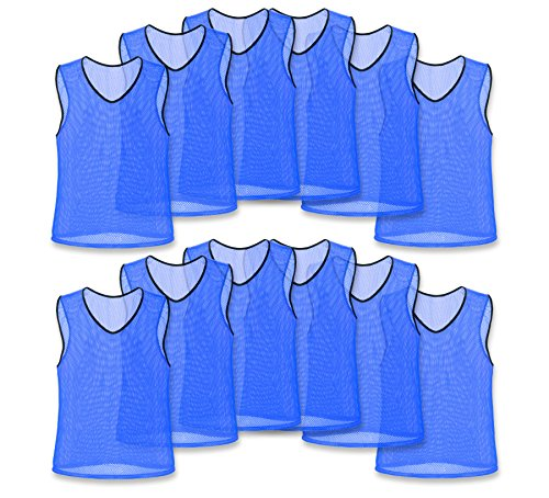 Nylon Mesh Scrimmage Team Practice Vests Pinnies Jerseys Bibs for Children Youth Sports Basketball, Soccer, Football, Volleyball (Blue, Adult)
