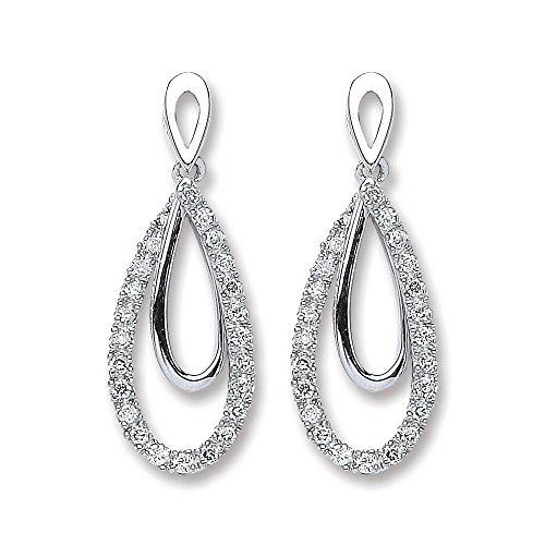 Jareeya-Double Ouverture goutte Pendants d'oreilles, 9ct or blanc, diamants 0,20CT