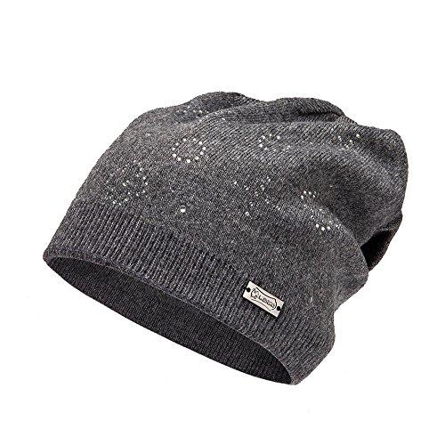 LADYBRO Wool Slouchy Beanie Knit Hats for Women Double Layers Winter Skull Caps (Dark (Rhinestone Womens Knit Cap)