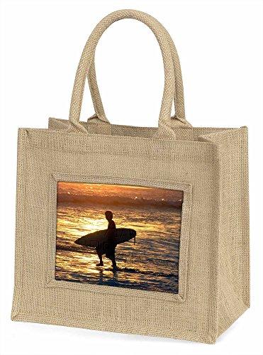 Advanta spo-s2bln Sunset Surf große Einkaufstasche/Weihnachten Geschenk, Jute, beige/natur, 42x 34,5x 2cm
