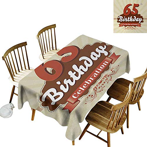 kangkaishi 65th Birthday Oil-Resistant and Durable Long Tablecloth Retro Style Celebration Card with Spring Inspired Floral Details Kitchen Available W60 x L126 Inch Eggshell Brown Burgundy