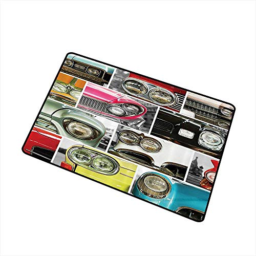 Jbgzzm Welcome Door mat 1960s Decorations Collection Classic Cars Retro Automobile Collage Bumper and Headlights Classics Old Style W20 xL31 Non-Slip Backing Pink Black Red