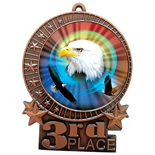 Express Medals 3 inch American Eagle 3rd Place Bronze Medal with Neck Ribbon Award XMDMY4 (25)