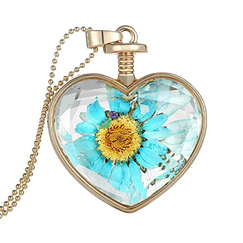 Bling Stars Dried Pressed Flower Living Memory Charms Locket Heart Pendant Necklace (Sunflower)