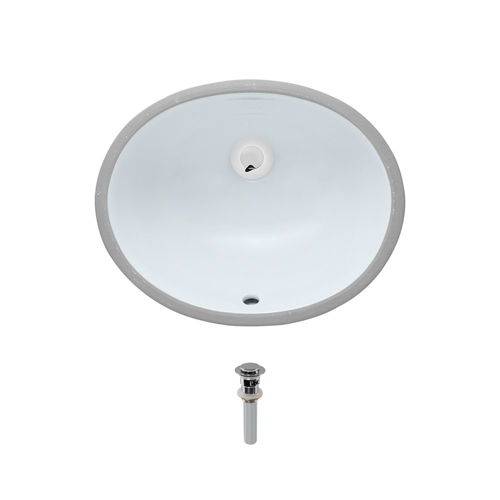 UPS-White Undermount Porcelain Bathroom Sink Ensemble, Chrome Pop-Up Drain