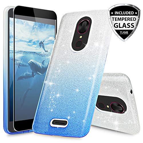 T-Mobile Revvl Plus Case, with TJS [Full Coverage Tempered Glass Screen Protector] Two Tone Glitter Hybrid TPU Glitter Paper with PC Shinny Glitter Hybrid Phone Case (Not for Alcatel Revvl) (Blue)