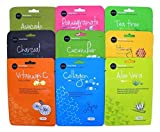 Facial Mask Moisturizing - Celavi Essence Facial Mask Paper Sheet Korea Skin Care Moisturizing 9 Pack (Mix of 9)