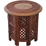 Panjal Small Side Round Table Wooden End Brown Hand Carved 37cm