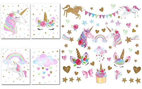 Unicorn Decorations for Girls Bedroom - 66pcs Unicorn Wall Decal Stickers, Set of 4 Unicorn Posters Canvas Wall Art Prints for Kids, Children Gifts, Nursery Home Room Decor, Unicorn Party Favors