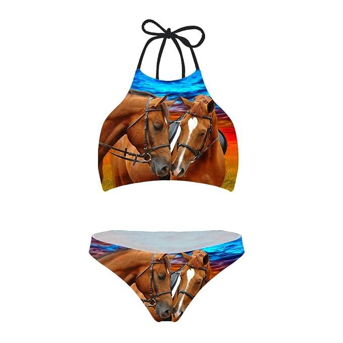 4f9e1db9b6e Amazon.com: Showudesigns Animal Print Bikini Set Two Piece Teen Girls  Learn-to-Swim Lace Up Halter Swimwear: Clothing