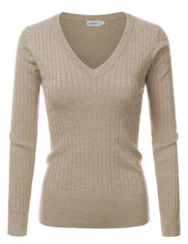 Doublju Slim Fit Twisted Cable Knit V-Neck Sweater For Women KHAKI X-LARGE