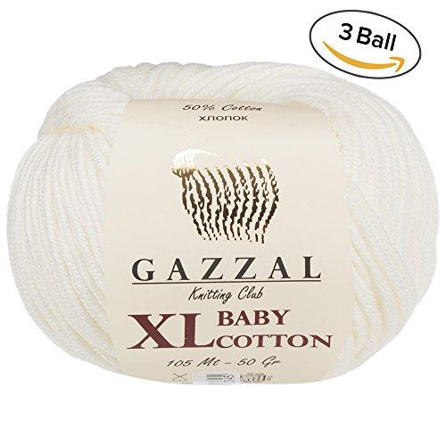 3 Pack (Ball) Gazzal Baby Cotton XL Total 5.28 Oz / 344 Yrds, Each Ball 1.76 Oz (50g) / 246 Yrds (225m) Super Soft, DK- Worsted Baby Yarn, 50% Turkish (50g Yarn)