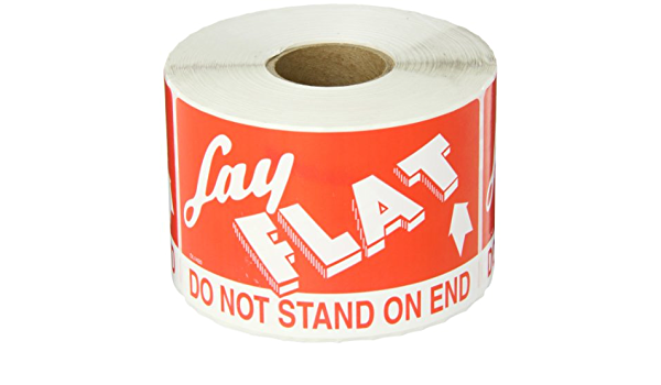 1 Roll of 500 Labels Red//White, Boxes Fast Tape Logic Labels,Lay Flat Do Not Stand On End 3 x 5