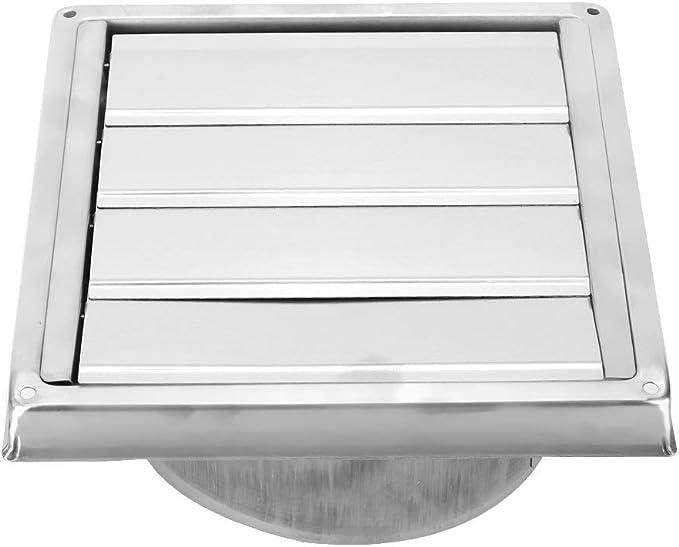 Aiggend Salida de Humos, de Acero Inoxidable de 150 mm Cuadrado de Rejilla Activa de Salida de Aire de ventilación Cubierta Campana de Pared Exterior: Amazon.es: Hogar