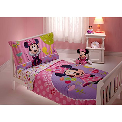 Minnie Mouse 4 Piece Toddler Bedding Set (Mini Mouse Bed Set)