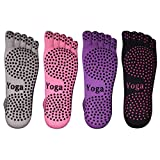 BLKWHT 4 Pairs Cotton Yoga Socks with Non Slip Grips Pilates Socks, Barre, Five fingers Full Toe Ankle High Breathable comfortable Stretchable ( Black Purple Pink Gray)