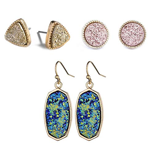(Statement Oval Simulated Druzy Crystal Stone Gold Tone Drop Dangle Earrings for Women and Girls (3 pcs blue, gold and pink set))
