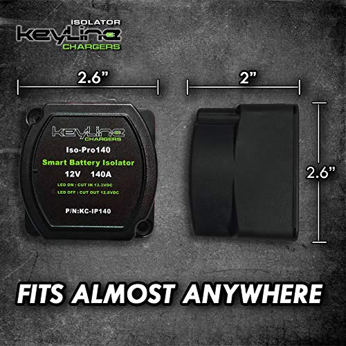 12V 140 Amp Dual Battery Smart Isolator by KeyLine - VSR - Voltage Sensitive Relay Specially Designed for ATV, UTV, Boats, RV's, Campers 5th Wheels Off Road Vehicles Rhino Polaris Artic Cat ETC by KeyLine Chargers (Image #1)