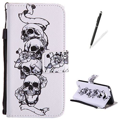 LG G6 Flip Leather Case,KaseHom Slim Magnetic Wallet Case [Free Black Touch Stylus] Retro Skull Rose Pattern with Lanyard Card Slots Kickstand Anti-Scratch Protective Skim Cover Holster